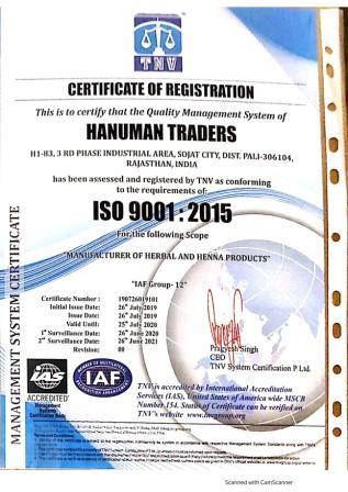 ISO CERTIFICATE Hanuman Traders